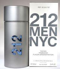 212 Men By Carolina Herrera 3.3 / 3.4 Oz EDT Spray New Tester Cologne For Men
