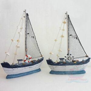 Handmade WOOD MODEL 36cm tall Sailing Boat Tall Ship Sailer Yacht Nautical decor