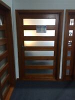 RED CEDAR TIMBER FRONT DOOR, 6 SLAT 1200Wx2100H, STAINED & OILED, IN STOCK