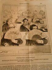 Caricature 1880 - Distrinuer for l'été fans to our députés