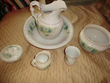 Antique 8 Pc. Porcelain Wash Bowl & Pitcher Set