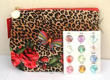 Estee Lauder Red Patterened Leopard Print Lined Patterned Make Up Bag New