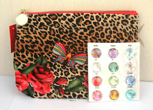 Estee Lauder Red Patterened Leopard Print Lined Patterned Make Up Bag New