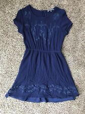Brixon Ivy Navy Blue Floral Embroidered Short Sleeve Lined Dress Size M