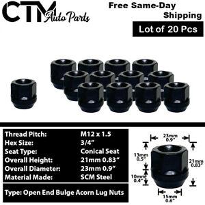 20Pc BLACK M12x1.5 OPEN END BULGE ACORN WHEEL LUG NUTS FIT CHEVY CADILLAC & MORE