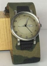 Fossil Watch Camouflage Mens Wide Band Stainless Steel JR1170 Leather WORKS