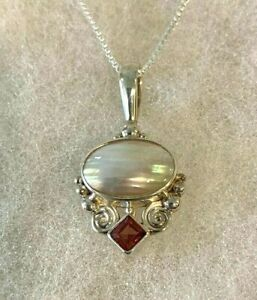 Sajen Sterling Garnet & Oval Mabe Pearl Pendant on 18-Inch Box Chain - 6.9 Grams