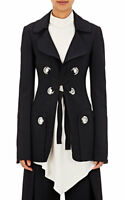 Proenza Schouler Made in Italy Black Cady Wool Blend Lace Up Jacket Size 6