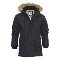 Mens Parka Jacket Brave Soul Rock Heavy Quilt Fur Hooded Coat