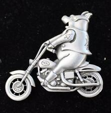Vintage Signed JJ Pewter Tone PIG RIDING MOTORCYCLE Pin Brooch