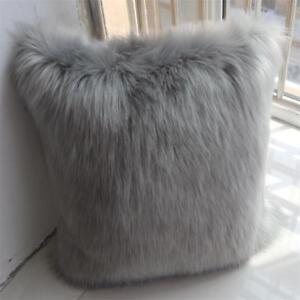 Luxury Soft Faux Fur Fleece Pillow Sheep Skin Cushion Cover Protector Pillowcase