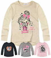 Girls T Shirt New Kids Long Sleeved Cotton Top Pink Grey Cream 2 3 4 5 6 Years