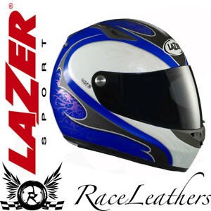LAZER KESTREL IVY GLOSS BLUE GREY WHITE FULLFACE MOTORCYCLE MOTORBIKE HELMET