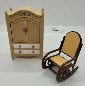 Vintage 2 pc SET TOMY dollhouse furniture Rocking Chair and Wardrobe, Made Japan