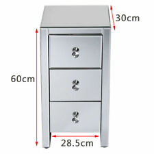 Mirrored Furniture Glass 3 Drawers Bedside Cabinet Crystal Table Bedroom UK