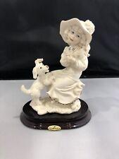 Giuseppe Armani Cherie Girl w Dog Figurine #0242F Statue Florence Mint!