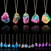 Natural Quartz Raw Gemstone Original Stone Heal Crystal Pendant Jewelry Necklace