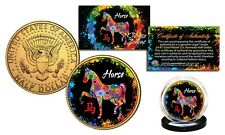 Chinese Zodiac PolyChrome Genuine JFK Half Dollar 24K Gold Gilded Coin - HORSE