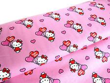 Baumwolle Stoff Vorhangstoff BW Hello Kitty Katze Katzen pink Meterware 9212