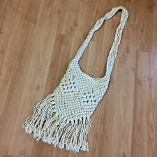Cream Fringed Boho Hippie Lined Bag/Purse Crocheted Crossbody Ivory/Cream/Nude