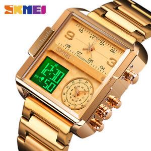 SKMEI 3 Time Sport Analog Quartz Watches For Men Digital Large Face Watch 1584