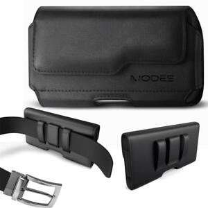 Black XXL Large PU Leather Pouch Clip for Phone with HEAVY DUTY OTTERBOX Case On