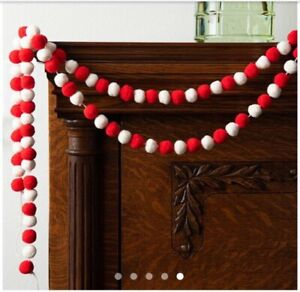 MAGNOLIA Red & White Holiday Pom Garland Christmas Hearth & Hand Wood Spool NEW