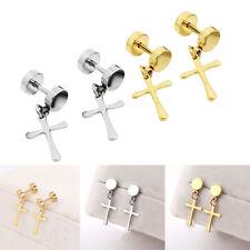 2 Pairs Cross Dangle Cheater Ear Plugs Gauges Illusion Screw Stud Earrings