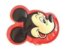 Vintage Walt Disney World Mickey Mouse zipper small coin purse red vinyl
