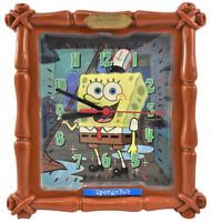 "Sponge Bob Wall Clock Employee Of The Month Working 8.25"" x 7.75"" Plastic"