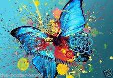 Abstract Blue Teal Coloured Butterfly Picture Poster Home Art Print Wall Decor