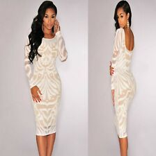 Sz 8 10 White Lace Long Sleeve Bodycon Prom Cocktail Party Slim Fit Midi Dress