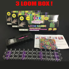 3x Loom Bands Box Kit Sets 1800 Loom Bands  Boards Tool Sets +Free Charms DIY-AU