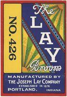 Vintage The Lay Broom Label - Joseph Lay Company of Portland Indiana