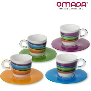 Set 4 Tazzine Caffè con Piattini in Plastica Infrangibile Plexart Omada Design