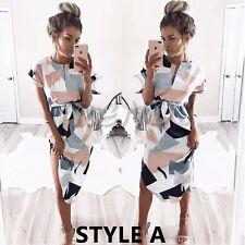 UK Women Print Short Sleeves Belted Tunic Wrap Floral Dress Shirt Size 6-18