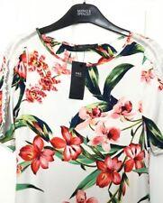 M&S s8 Avorio Floreale Marks Volant Spalle morbide Stretch T-shirt Top camicetta nuova con etichetta
