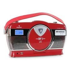 RADIO RETRO FM PORTATIL REPRODUCTOR CD ENTRADA USB MP3 ROCKABILLY VINTAGE ROJA