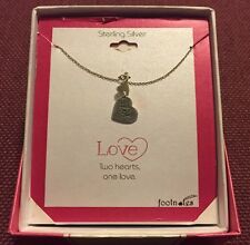 """Footnotes Sterling Silver """"Two Hearts, One Love"""" Pendant Necklace *NEW W/ BOX*"""