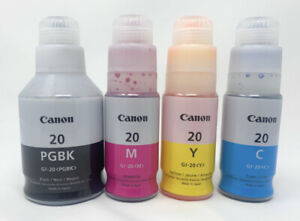 Canon GI-20 Ink 4 Bottle Pack (CMYL) for Continuous ink Megatank Printers