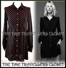 Kate Moss Topshop Black Red Heart Crepe Vtg 60s Mini Shift Shirt Dress UK 8 -10