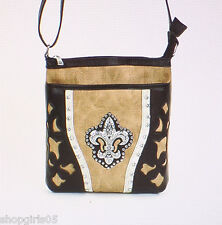 NEW!!  FLEUR DE LIS   PURSE/HANDBAG/MESSENGER-TAN/BROWN