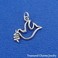 .925 Sterling Silver PEACE DOVE OUTLINE with OLIVE BRANCH CHARM PENDANT