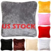 Fluffy Faux Fur Shaggy Soft Sofa Bed Home Car Decor Pillow Case Cushion Cover US