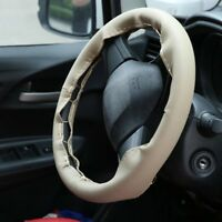 Auto Car Steering Wheel Cover With Needles And Thread Leather Car Covers Beige E