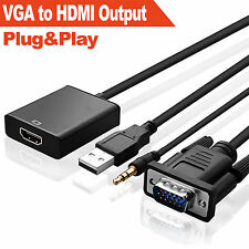 VGA Male To HDMI Output 1080P HD+ Audio TV AV HDTV Video Cable Adapter Converter