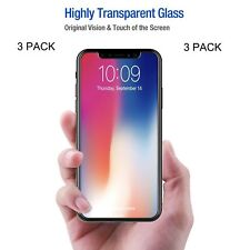(3 Pack) Premium Tempered Glass Screen Protector For Apple iPhone X