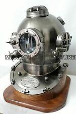 Antique Diving Divers Helmet~ Boston Mark V Nautical Deep Sea Scuba With Base