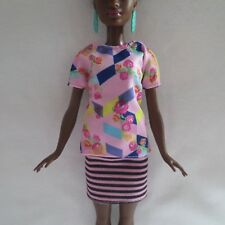 NEW Barbie Fashionista Doll Flower Top & Black Pink Striped Skirt ~ Clothing
