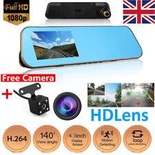 Car DVR 4.3'' HD 1080p Dual Lens Auto Mirror Dash Cam Recorder Rearview Camera